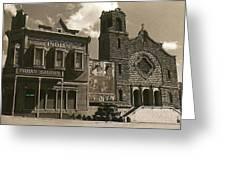 Holy Angel's Catholic Church Rectory  Belles Indian Saloon   The Great White Hope Set Globe Az 1969 Greeting Card