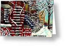 Escaliers De Montreal Ville De Verdun Best Original Montreal Paintings On Sale Peintures  Greeting Card