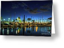 Honolulu Harbor By Night Greeting Card