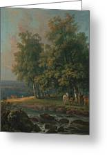 Horses And Cattle By A River Greeting Card