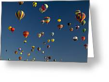Hot Air Balloons Fly In A Hot Air Greeting Card by Ralph Lee Hopkins
