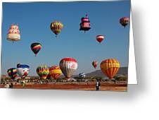 Hot Balloon Festival, Leon, Mexico Greeting Card