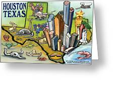 Houston Texas Cartoon Map Greeting Card