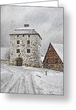 Hovdala Castle Gatehouse In Winter Greeting Card