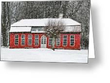 Hovdala Castle Orangery In Winter Greeting Card