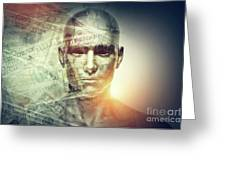 Human Man Face And Dollars Double Exposure. Greeting Card