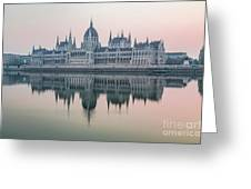 Hungarian Parliament In The Morning Greeting Card