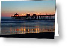 Huntington Beach Pier At Sunset Greeting Card