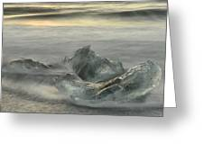 Ice In The Surf Greeting Card