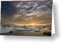 Icebergs On The Jokulsarlon Glacial Greeting Card
