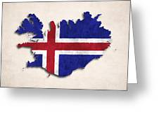 Iceland Map Art With Flag Design Greeting Card