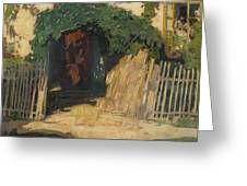 In Front Of A Cottage Greeting Card
