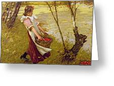 In The Orchard Haylands Graffham Henry Herbert La Thangue Greeting Card