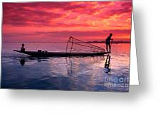 Inle Lake Fisherman Greeting Card