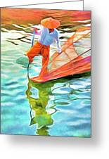 Inle Lake Leg-rower Greeting Card