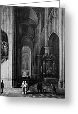 Interior Of A Gothic Church At Night Greeting Card