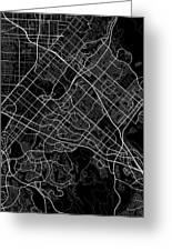 Irvine California Usa Dark Map Greeting Card