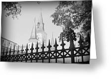 Jackson Square Fence With St. Louis Cathedral In Background Greeting Card