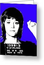 Jane Fonda Mug Shot - Blue Greeting Card