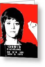 Jane Fonda Mug Shot - Red Greeting Card