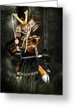 Japanese Samurai Doll Greeting Card by Christine Till