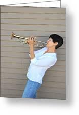 Jazz Trumpet Player. Greeting Card