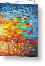 Jerusalem Wailing Wall Original Acrylic Palette Knife Painting Greeting Card