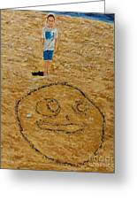 Jorden Draw Self Portrait In The Sand   Greeting Card