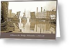 Kilbourn Avenue Bridge, Milwaukee, Wisconsin, 1915-1920, Vintage Greeting Card
