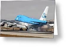 Klm Royal Dutch Airlines Boeing 747 Airplane Landing At San Francisco Airport In San Francisco, Cali Greeting Card