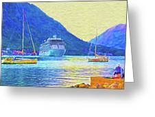 Kotor Harbor Greeting Card