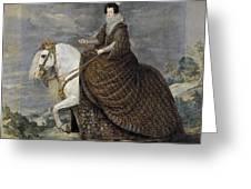 La Reina Isabel De Borbn A Caballo Diego Rodriguez De Silva Y Velazquez Greeting Card