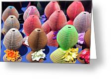 Ladies Collapsible Straw Hats At The Cove Marketplace At Port Ca Greeting Card