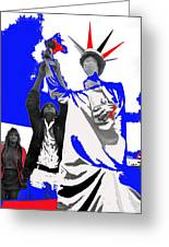 Lady Liberty's Torch Adjusted Parade Tucson Arizona Color Added Greeting Card