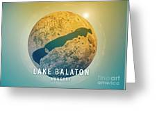 Lake Balaton 3d Little Planet 360-degree Sphere Panorama Greeting Card