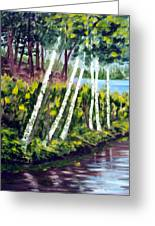 Lakeside Birches Greeting Card