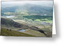 Landscape View Of Llyn Cwellyn And Moel Cynghorion In Snowdonia  Greeting Card