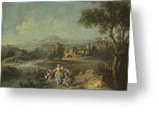Landscape With A Group Of Figures Fishing Greeting Card
