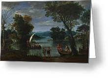 Landscape With A River And Boats Greeting Card