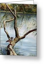 Landscape With Bird In A Tree Greeting Card