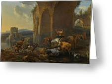 Landscape With Herdsmen Beneath Ruins Greeting Card