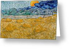 Landscape With Wheat Sheaves And Rising Moon Greeting Card