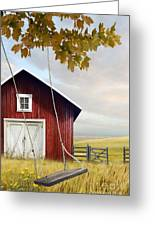 Large Red Barn With Bicycle In Field Of Wheat Greeting Card