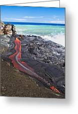 Lava Flowing Into Ocean, Hawaii Greeting Card