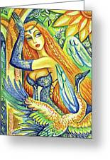 Fairy Leda And The Swan Greeting Card