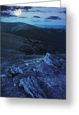 Light On Stone Mountain Slope With Forest At Night Greeting Card