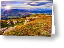 Light On Stone Mountain Slope With Forest Greeting Card