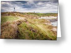 Lighthouse And Cliffs Greeting Card