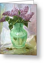 Lilacs In A Glass Vase Greeting Card
