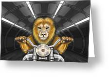 Lion On Motorcycle Greeting Card